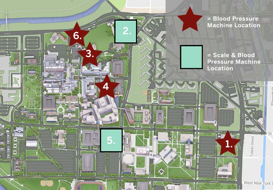 Map of blood pressure machines at IUPUI